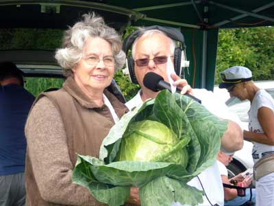 Paul Le Feuvre, our MC, a cabbage and Ann Figgins